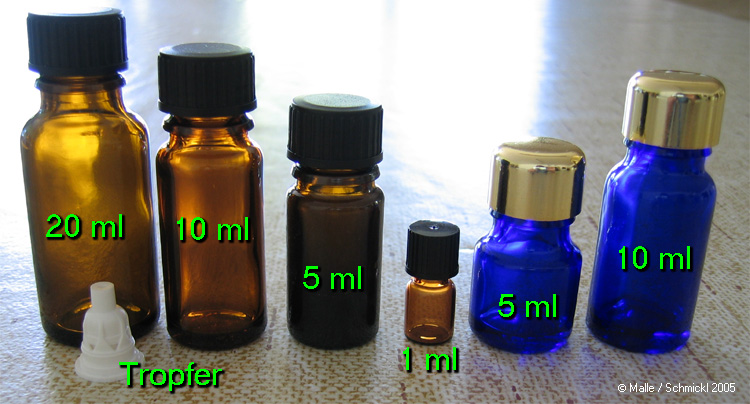Small bottles for storing essential oils