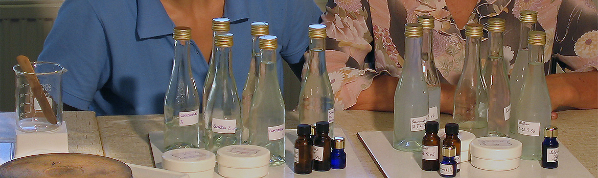 Making essential oils and hydrosols in our hands-on classes - products